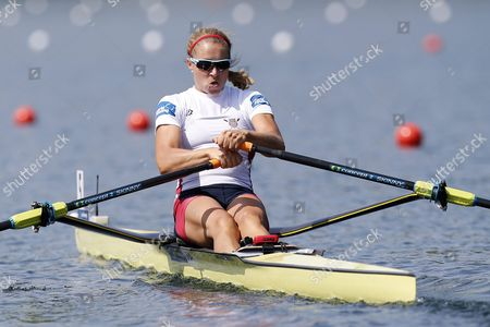 Usa's Genevra Stone in Action at the Start of the Womens Single Sculls a Final at the Rowing World Cup On Lake Rotsee in Lucerne Switzerland 12 July 2015