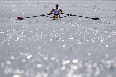 Genevra Stone of Usa in Action During the Women's Single Sculls Semi Final at the Rowing World Cup On Lake Rotsee in Lucerne Switzerland Saturday July 11 2015