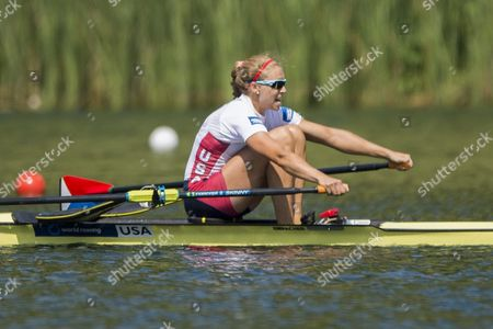 Genevra Stone of Usa On the Way to the Third Place at the Womens Single Sculls a Final at the Rowing World Cup On Lake Rotsee in Lucerne Switzerland 12 July 2015