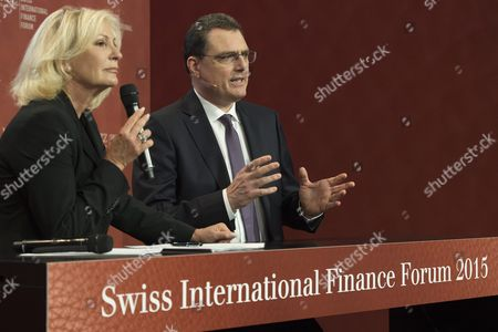 German Tv Presenter Sabine Christiansen (l) and Thomas Jordan (r) President of the Swiss National Bank Snb Speak On the International Financial Problems During the Swiss International Finance Forum (siff) in Bern Switzerland 29 June 2015