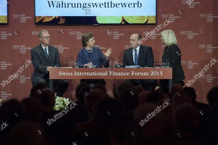 (l-r) Lars Rohde Governor of Denmark's Central Bank Akhtar Aziz Zeti Governor of Malaysia's Central Bank Axel Weber Ubs Chairman and German Tv Presenter Sabine Christiansen Discuss the International Financial Situation During the Swiss International Finance Forum (siff) in Bern Switzerland 29 June 2015