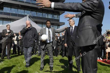From L-r Jean-claude Biver President of Hublot Brazilian Soccer Legend Pele Edson Arantes Do Nascimento and Ricardo Guadalupe Ceo of Hublot During the Inauguration Ceremony of an Extension of the Manufacture of the Swiss Luxury Watchmaker Hublot Owned Subsidiary of France's Lvmh in Nyon Switzerland 29 September 2015