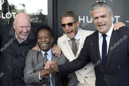 Stock Photo of From L-r Jean-claude Biver President of Hublot Brazilian Soccer Legend Pele Edson Arantes Do Nascimento New York-born Italian Italian Businessman and Grandson of Gianni Agnelli of Fiat Automobiles Lapo Eduard Elkann and Ricardo Guadalupe Ceo of Hublot During the Inauguration Ceremony of an Extension of the Manufacture of the Swiss Luxury Watchmaker Hublot Owned Subsidiary of France's Lvmh in Nyon Switzerland 29 September 2015