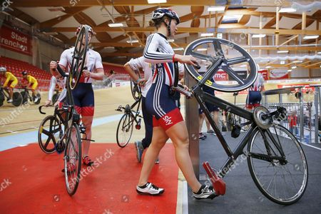 Matt Crampton (l) and Jessica Varnish (r) Both of Britain Attend a Training Session of the Track Cycling European Championships at the Velodrome in Grenchen Switzerland 12 October 2015 the European Track Cycling Championships Will Take Place From 14 October Until 18 October 2015