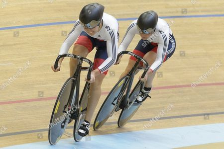 The British Team with Jessica Varnish and Katy Marchant Compete in the Women's Team Sprint Qualifying During the Uci European Track Cycling Championships in Grenchen Switzerland 15 October 2015