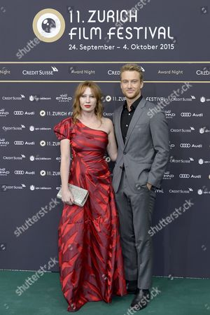 Austrian Actress Birgit Minichmayr (l) and German Actor Alexander Fehling Pose On the Green Carpet Before the Award Night at Zurich Film Festival (zff) in Zurich Switzerland 03 October 2015 the Festival Runs From 24 September to 04 October 2015