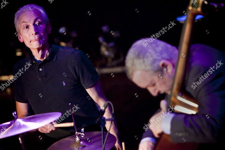 Members of the Band 'The Abc & D of Boogie Woogie' Drummer of the Rolling Stones Charlie Watts (l) and British Bassist Dave Green (r) Perform During a Concert at the Casino in Herisau Switzerland 13 January 2010