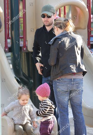 Tobey Maguire and his pregnant wife, Jennifer Meyer, with daughter Ruby Sweetheart Maguire and friend