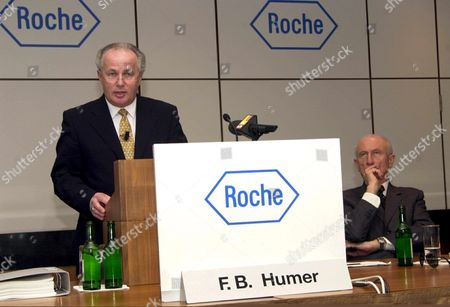 Bas102 - 20000330 - Basel Switzerland : Ceo of the Pharmaceutical Division of Swiss Pharmaceuticals Group Roche Franz Humer (l) and Financial Head Henri Meier During a Press Conference in Basel Thursday 30 March 2000 the Group On Thursday Reported a 31-percent Jump in 1999 Net Profit Boosted by a One-off Gain From the Sale of Shares in Genentech of the United States (electronic Image) Epa Photo Keystone/markus Stuecklin/ms-cl Switzerland Schweiz Suisse Basel