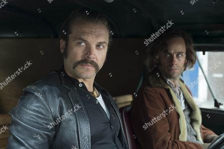 Stock Photo of Lex Shrapnel as John Bentley and Jay Taylor as David Bentley.