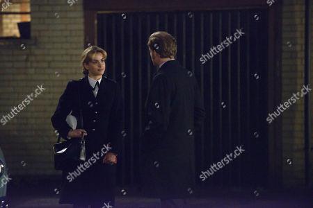 Stefanie Martini as Jane Tennison and Sam Reid as DCI Len Bradfield.