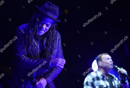 Terence 'Astro' Wilson (l) and Ali Campbell (r) of British Reggae/pop Band Ub40 Perform on Stage at the Life Festival in Oswiecim Poland 20 June 2015 Poland Oswiecim