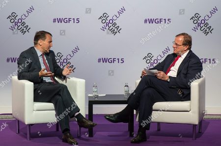 Polish Sejm (parliament) Speaker Radoslaw Sikorski (l) with Atlantic Council President and Ceo Frederick Kempe (r) at the Wroclaw Global Forum 2015 in Wroclaw Poland 12 June 2015 the Wroclaw Global Forum an Annual Transatlantic Conference on Economic Cooperation and Political Relations Between the European Union and the United States the Three-day Meeting of Politicians Academics and Business Leaders From Around the World Runs From 11 to 13 June 2015 Poland Wroclaw