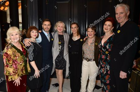 Michelle Dotrice, Debbie Chazen, Gary Barlow, Claire Moore, Joanna Riding, Claire Machin, Sophie-Louise Dann and Tim Firth of 'The Girls'