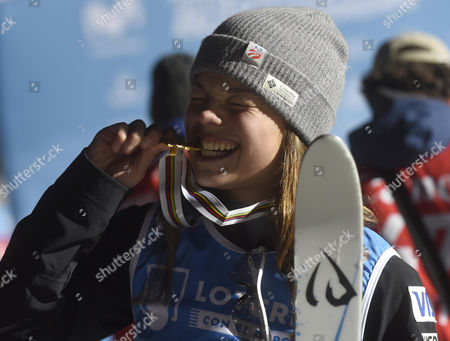 US Ashley Caldwell, gold medal, poses at the podium after the Women's Final Aerials of the FIS Freestyle Ski and Snowboard World Championships 2017 in the Sierra Nevada, near Granada, southern Spain, 10 March 2017.