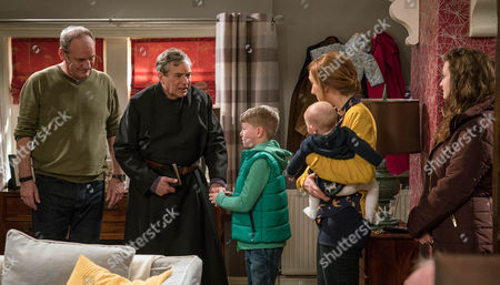 Laurel Thomas, as played by Charlotte Bellamy, arrives home early she finds Ashley Thomas, as played by John Middleton, is there celebrating. She's concerned he might be overwhelmed but her fears are quickly allayed when Ashley slips into his cassock and is soon happily sitting with the children. (Ep 7779 - Wed 22 Mar 2017)