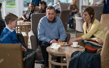 Laurel Thomas, as played by Charlotte Bellamy, and Arthur Thomas, as played by Alfie Clarke, worry Ashley Thomas, as played by John Middleton, not eating properly and later find food stuffed into his bathrobe pockets. (Ep 7771 - Mon 13 Mar 2017)