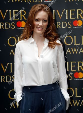 Actress Clare Foster arrives for the the Olivier Awards nominees luncheon in London, . Foster is nominated for her supporting role in Travesties