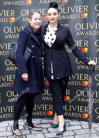 Victoria Hamilton-Barritt, right, arrives for the the Olivier Awards nominees luncheon in London