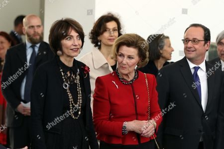 Francois Hollande, Queen Sonja and Marisol Touraine