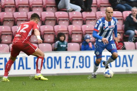 Wigan Athletic Midfielder, Gabriel Obertan (11) during the EFL Sky Bet Championship match between Wigan Athletic and Bristol City at the DW Stadium, Wigan