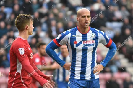 Stock Photo of Wigan Athletic Midfielder, Gabriel Obertan (11) during the EFL Sky Bet Championship match between Wigan Athletic and Bristol City at the DW Stadium, Wigan