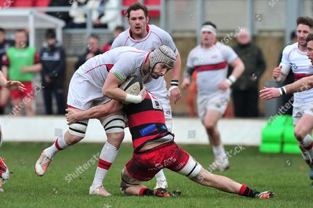 Dan Williams of Plymouth Albion is tackled by Thomas Wilson of Birmingham Moseley during the National Division One match between Birmingham Moseley Rugby v Plymouth Albion at Billesley Common, Birmingham, Midlands, UK on 11th March 2017.