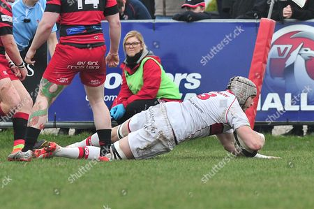 Dan Williams of Plymouth Albion goes over for a try during the National Division One match between Birmingham Moseley Rugby v Plymouth Albion at Billesley Common, Birmingham, Midlands, UK on 11th March 2017.