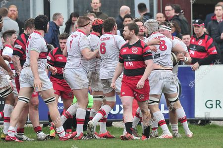 Dan Williams of Plymouth Albion celebrates scoring a try during the National Division One match between Birmingham Moseley Rugby v Plymouth Albion at Billesley Common, Birmingham, Midlands, UK on 11th March 2017.