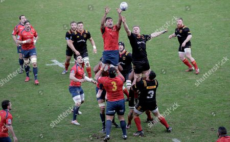 Spain's David Barrera Howarth (L, top) and Germany's Eric Marks (R, top) vie for a line-out ball during the Rugby Europe Championship 2017 match between Germany and Spain in Cologne, Germany, 11 March 2017.