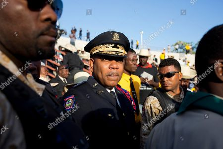 Police Chief Michel-Ange Gedeon arrives for the funeral of former President Rene Preval in Port-au-Prince, Haiti