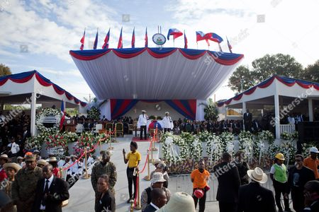Stock Photo of View of the funeral service of the late former Haitian president Rene Preval, in Port au Prince, Haiti, 11 March 2017. Hundreds of Haitians and international officials gathered to pay respect to the former president, Rene Preval who passed away on 03 March 2017 in Port-au-Prince. He was 74.