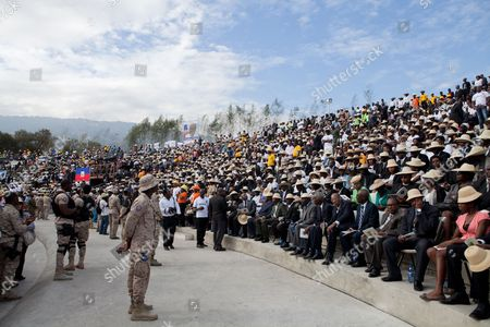 Hundreds of people gather to attend the funeral service of the late former Haitian president Rene Preval, in Port au Prince, Haiti, 11 March 2017. Hundreds of Haitians and international officials gathered to pay respect to the former president, Rene Preval who passed away on 03 March 2017 in Port-au-Prince. He was 74.