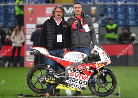 Team presentation of Sic 58 Racing Team  Moto3, Paolo Simoncelli (L) father of Marco, and SD of EVIVA Carlo Bagnasco (L) prior the 114nd local derby match between the two clubs the Italian Serie A soccer match Genoa Cfc vs Uc Sampdoria at Luigi Ferraris stadium in Genoa, Italy, 11 March 2017.