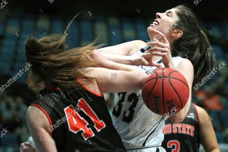 BSky Montana St Idaho St Basketball Idaho State forward Estefania Ors (41) takes the ball away from Montana State forward Madeline Smith (33) during the first half during an NCAA college basketball game in the finals of the Big Sky tournament in Reno. Nev