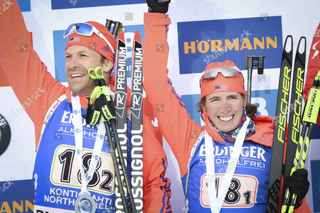 Team USA, the second place; Lowell Bailey (L) and Susan Dunklee pose after the Single Mixed Relay Competition at the Kontiolahti Biathlon Stadium in Finland, 12 March 2017.
