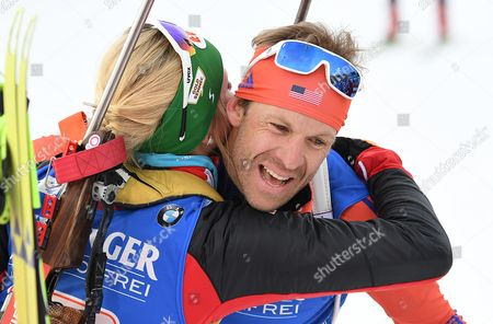 Susan Dunklee (L) of USA and Lowell Bailey of USA react during the Single Mixed Relay Competition at the Kontiolahti Biathlon Stadium in Finland, 12 March 2017.