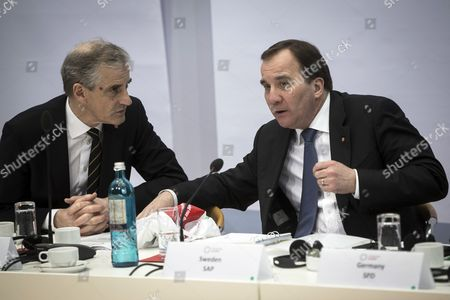 Norway's Labour Party leader Jonas Gahr Store (L) and Sweden's Prime Minister Stefan Lofven (R) talk at the start of a convention of the Progressive Alliance (PA) at the SPD party's headquarters in Berlin, Germany, 12 March 2017. The Progressive Alliance consist of some 140 members of social-democratic parties and organisations.