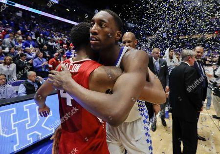 Edrice Adebayo, Daryl Macon Kentucky forward Edrice Adebayo hugs Arkansas guard Daryl Macon (4) after Kentucky beat Arkansas in an NCAA college basketball game for the championship of the Southeastern Conference tournament, in Nashville, Tenn. Kentucky won 82-65