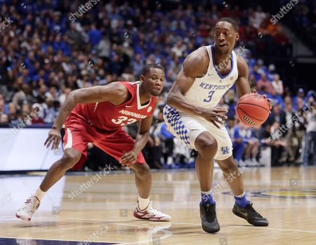 Edrice Adebayo, Moses Kingsley Kentucky forward Edrice Adebayo (3) drives against Arkansas forward Moses Kingsley (33) in the first half of an NCAA college basketball game for the championship of the Southeastern Conference tournament, in Nashville, Tenn