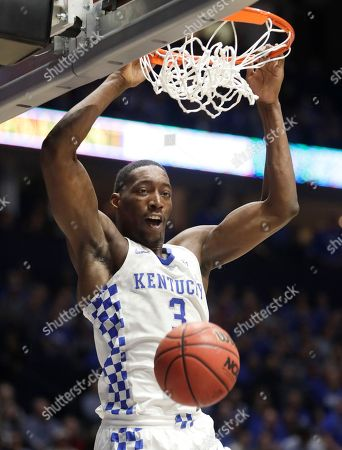 Kentucky's Edrice Adebayo dunks the ball against Arkansas in the first half of an NCAA college basketball game for the championship of the Southeastern Conference tournament, in Nashville, Tenn