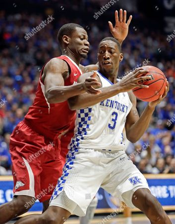 Moses Kingsley, Edrice Adebayo Arkansas forward Moses Kingsley, left, pressures Kentucky forward Edrice Adebayo (3) in the first half of an NCAA college basketball game for the championship of the Southeastern Conference tournament, in Nashville, Tenn