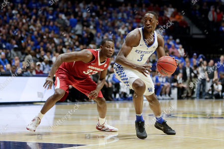 Edrice Adebayo, Moses Kingsley Kentucky forward Edrice Adebayo (3) is defended by Arkansas forward Moses Kingsley (33) in the first half of an NCAA college basketball game for the championship of the Southeastern Conference tournament, in Nashville, Tenn