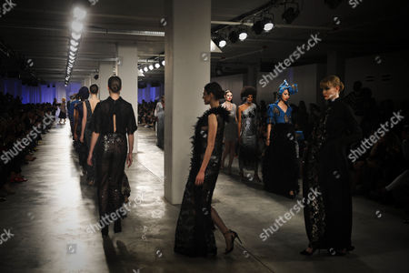 Models present creations by Angolan designer Nadir Tati, during the third and last day of Lisbon Fashion, at Belem Cultural Center, in Lisbon, 12 March 2017.