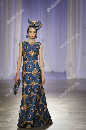 A model presents a creation by Angolan designer Nadir Tati, during the third and last day of Lisbon Fashion, at Belem Cultural Center, in Lisbon, 12 March 2017.