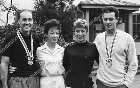 The Four Gold Medallists in Athletics From Great Britain Together in the Olympic Village L-r Ken Matthews (20k Walk)ann Packer (800m)mary Rand (long Jump) and Lynn Davies (long Jump) Tokyo Olympics 27 October 1964 United Kingdom Blackburn