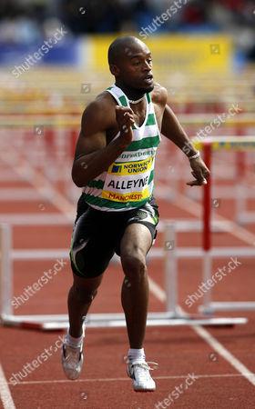 Richard Alleyne runs in the Men's 110m Hurdles Heats