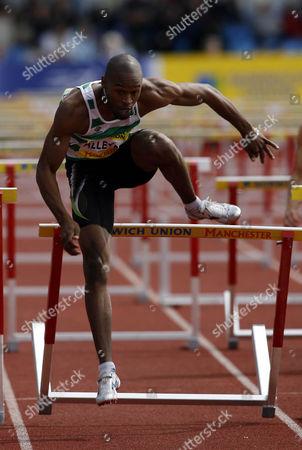 Stock Photo of Richard Alleyne runs in the Men's 110m Hurdles Heats