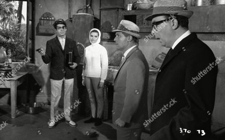 Eric Morecambe (as Eric Simpson), Ernie Wise (as Ernest Clark) and Suzanne Lloyd (as Claudette), with Paul Stassino (as Le Pirate)