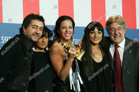 Antonio Chavarrias , Pilar Guerrero, Director Claudia Llosa, Magly Soller and Jose Maria Morales with the Golden Bear for the Best Film 'The Milk of Sorrow'